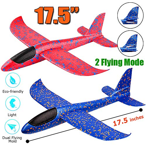 2 Pack Airplane Toys, 17.5 Large Throwing Foam Plane, 2 Flight Mode Glider Plane, Flying Toy for Kids, Gifts for 3 4 5 6 7 Year Old Boy, Outdoor Sport Toys Birthday Party Favors Foam Airplane