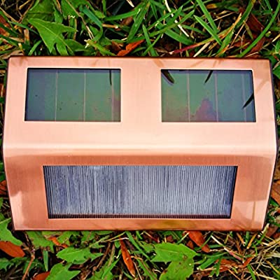 8Pack Copper Finish Solar Deck lighting Sogrand Solar Lights Solar Pathway Lights Solar Deck Lights