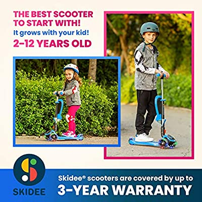 Adjustable Height w//Extra-Wide Deck PU Flashing Wheels for Children from 2-14 Years Old Packaging May Vary Lascoota 2-in-1 Kick Scooter with Removable Seat Great for Kids /& Toddlers Girls or Boys