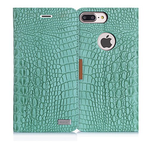 iPhone 8 Plus Case,iPhone 7 Plus Case, WWW [Crocodile Pattern] RFID-Resisting Premium PU Leather Wallet Case Flip Phone Case Cover with Card Slots for iPhone 7 Plus/8 plus  Mint Green (Tiffany Co Iphone Case)