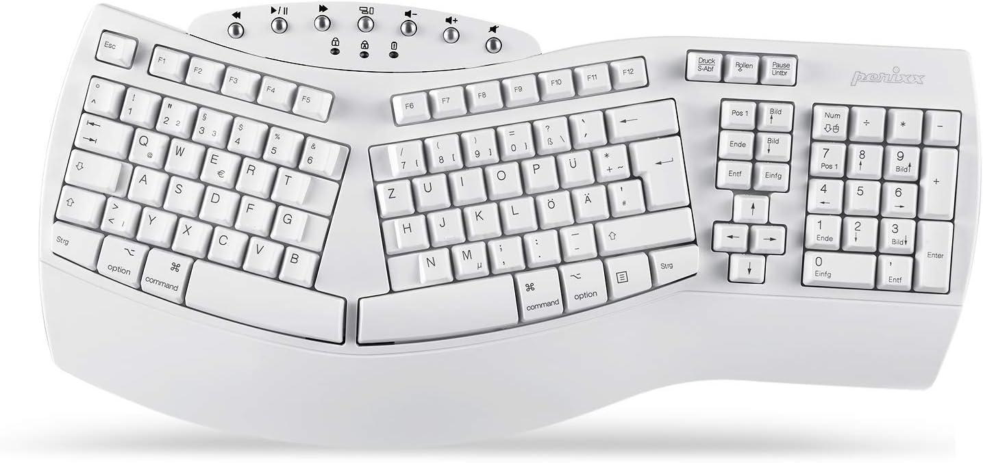 Perixx PERIBOARD-612 Ergonomische Kabellose Tastatur QWERTZ Deutsches Layout Wei/ß Kompatibel mit Windows 10 und Mac OS X Geteiltes Tastenfeld mit Dual Modus 2.4G oder Bluetooth