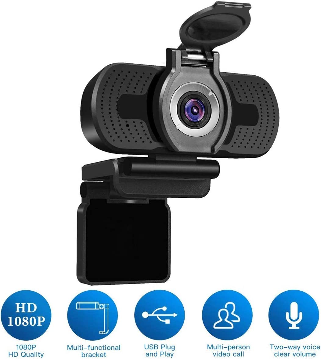 1080P Full HD Webcam with Webcam Cover,Larmtek USB Camera,Computer Laptop Camera for Conference and Video Call, Pro Stream Webcam for Working at Home,HS W2