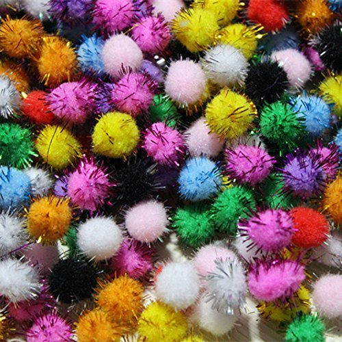 TECH-P Creative Life Craft Pom Poms Glitter Balls Small Sparkle Balls Assorted Color (10mm-1000Pack)