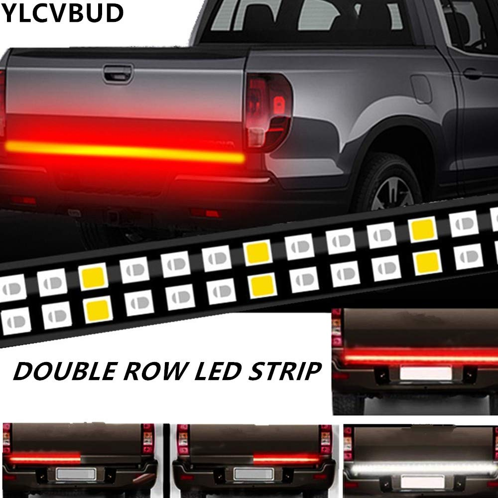 YLCVBUD 60 Inch Truck LED Tailgate Lights Bar Pickup Flexible Strip Bar Waterproof Red/White Reverse Back Up Running Lights, Brake Signal, for SUV RV Trailer