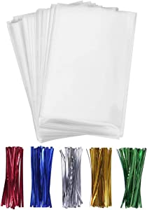 100PCS Cellophane Bags Clear Plastic Cello Bags 4x6 with 4
