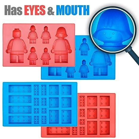 Amazon.com: Juego de 4 moldes de silicona para cubitos de ...