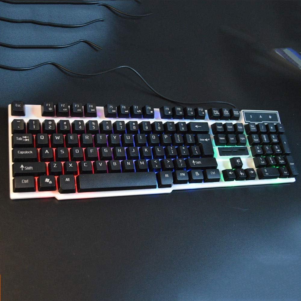 XUNHANG Cool Tri-Color Backlit Keyboard Wired Game Robotic Keyboard