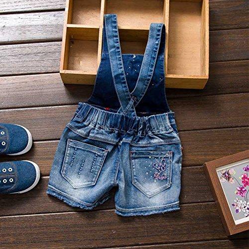 YAO Summer Little Girls Cotton Denim Bib Braces Rompers (4T) by YAO (Image #2)