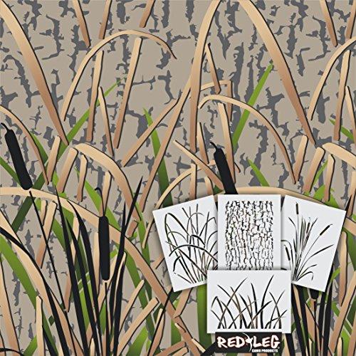 Redleg Camo GK4 4 Piece grass wetland duck camouflage stencil kit 12''x9'' by Redleg Camo