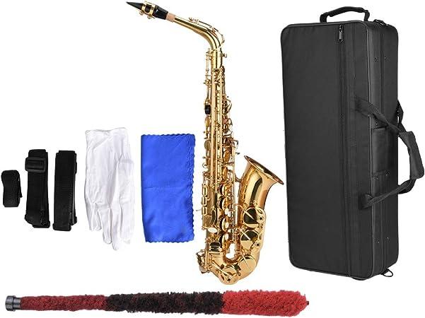 Neufday Juego de saxofón de Saxo Tenor, Kit de saxofón Alto de E-Flat de latón con Estuche de Transporte Guantes Blancos Cepillo de Limpieza de Tela: Amazon.es: Hogar