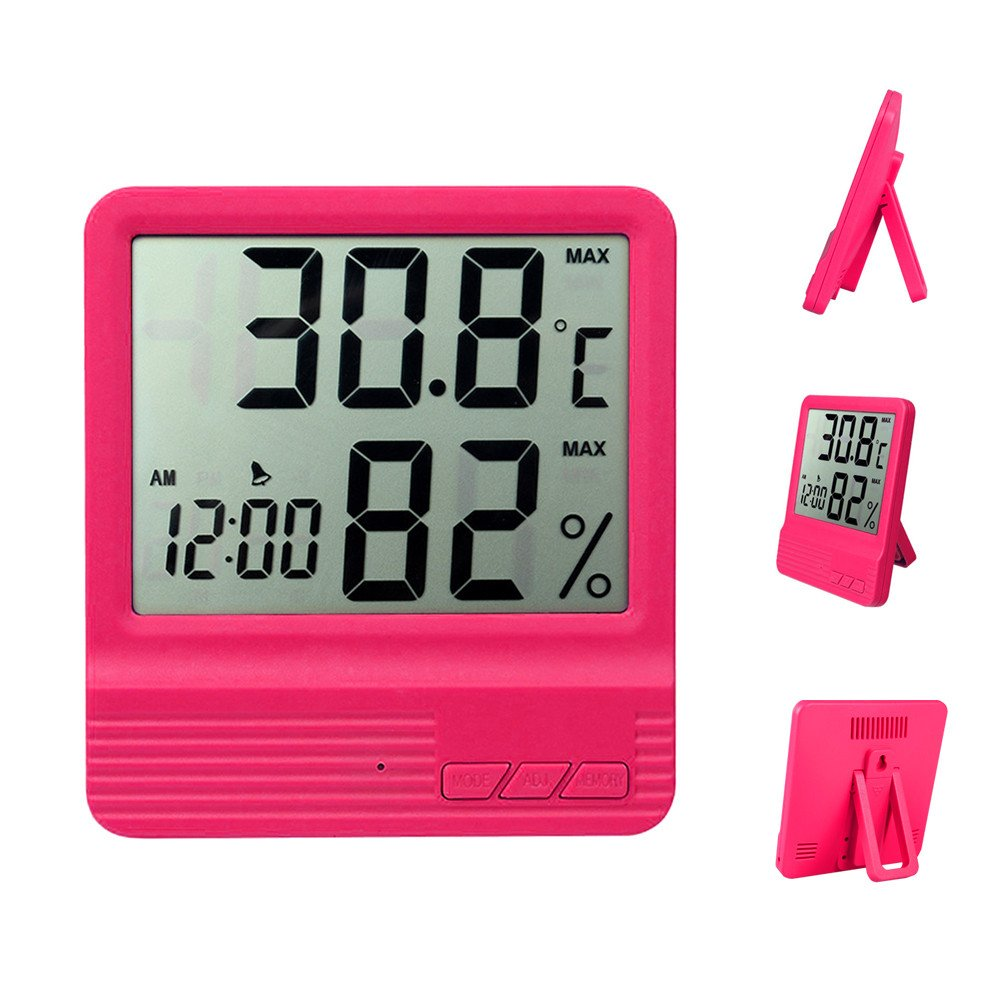 Humidity Temperature Meters,Humidity Gauge,Digital Indoor Temperature Hygrometer, Monitoring Temperature and Humidity for Bedroom, Baby Room ,Working Places, etc. (Rose Red) ZYCCW CX