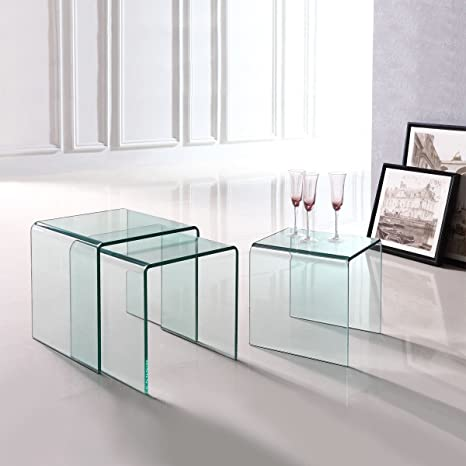 Amazon.com: Premium 3 Piece Tempered Glass Low Nesting End ...