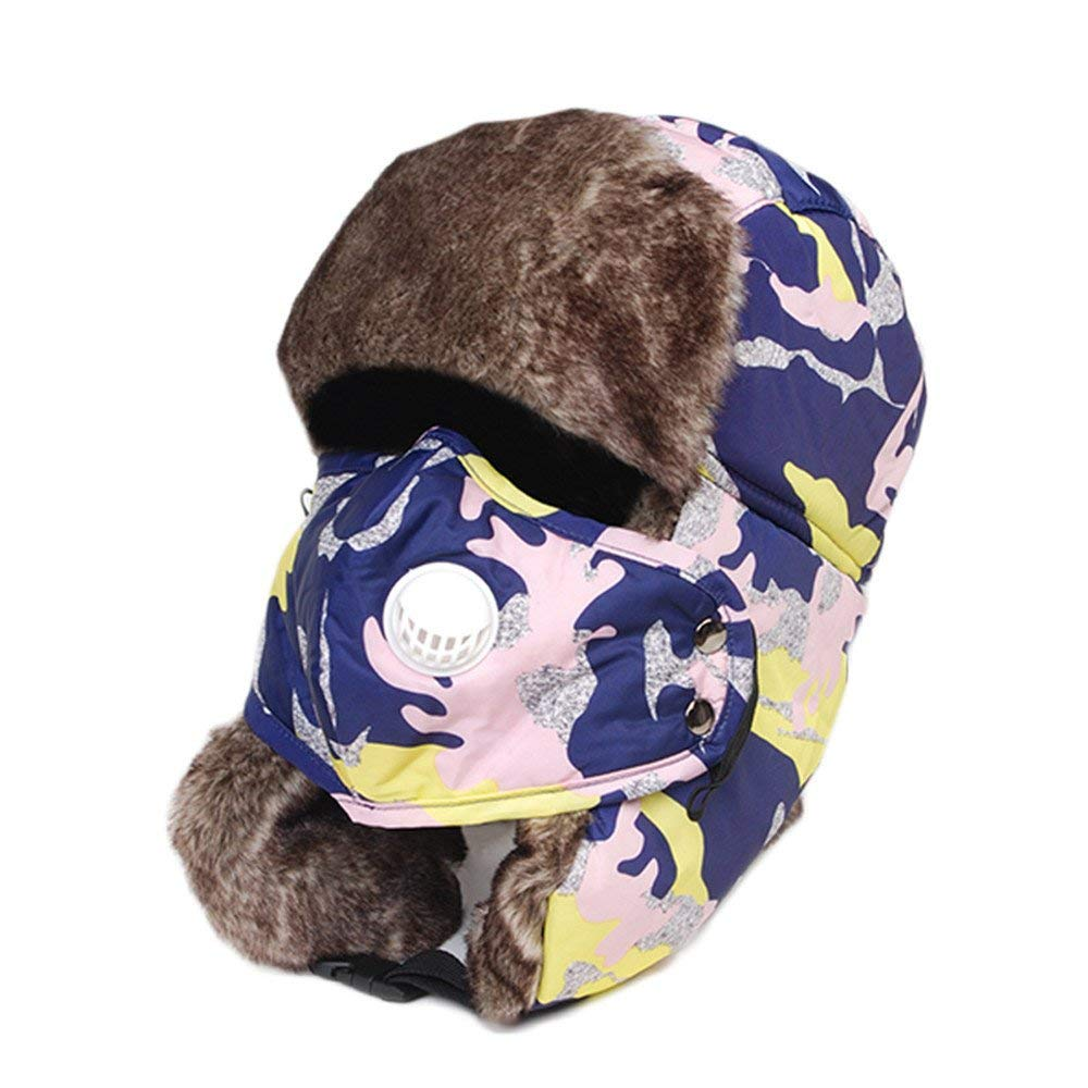 Thundertechs The Girlfriend Boyfriend Winter hat Cap and Thick Warm Warm Cotton hat Windproof Earmuffs Bicycle Cap (Color : Dark Blue Camouflage, Size : M)