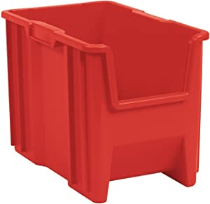 Akro-Mils 13014 Stack-N-Store Heavy Duty Stackable Open Front Plastic Storage Container Bin, (17-1/2-Inch x 11-Inch x 12-1/2-Inch), Red, (4-Pack)