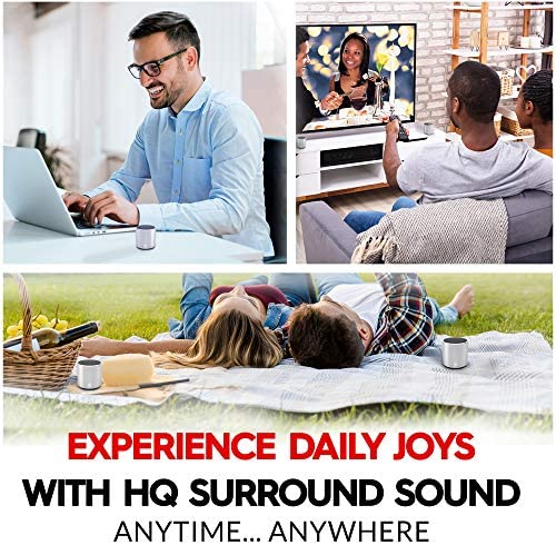 [2 Pack] HeadSound H2 True Wireless Bluetooth Speakers, Latest Powerful Dual Twin Portable Mini Speaker Set w/Surround HD Sound, Instant Pairing with Built in Mic for HandsFree Calls for Home (Silver) 61pnVjoBQgL