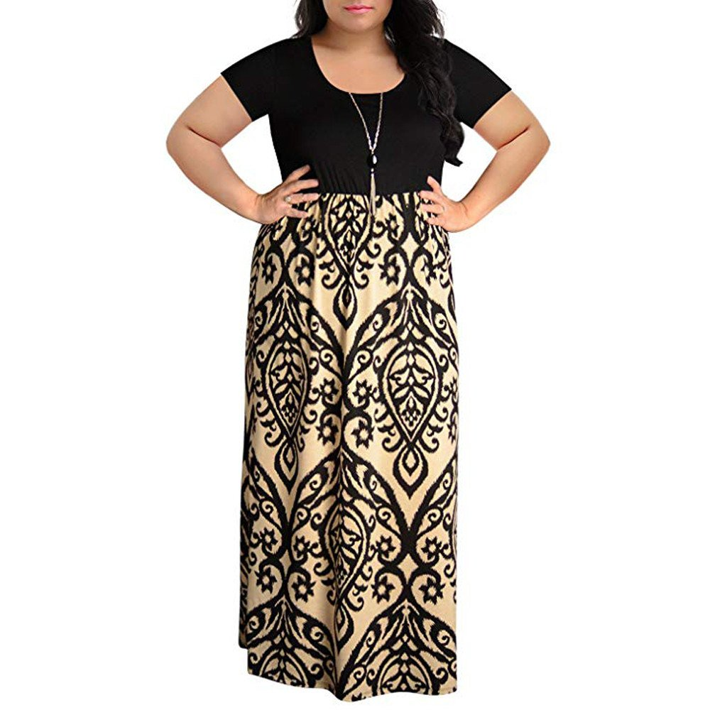 Womens Plus Size Short Sleeve Full Striped Printed Maxi Dress Boho Dress Party Beach Dresses Sundress
