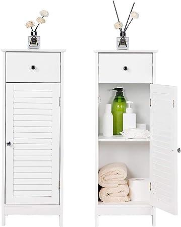 X Side Waterproof Bathroom Cabinets,White Bathroom Storage Shelf Organizer Cupboard with Daily use Layer and 1 Cupboard Door