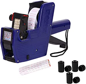 MX5500 Price Tag Gun for Clothing Tags -Price Stickers-Expiration Date Stamp-Gun Stickers, 1 line Label Gun, Date Sticker Gun | A Price Gun, 10 Roll Labels, 3 Ink Wheels(Blue)