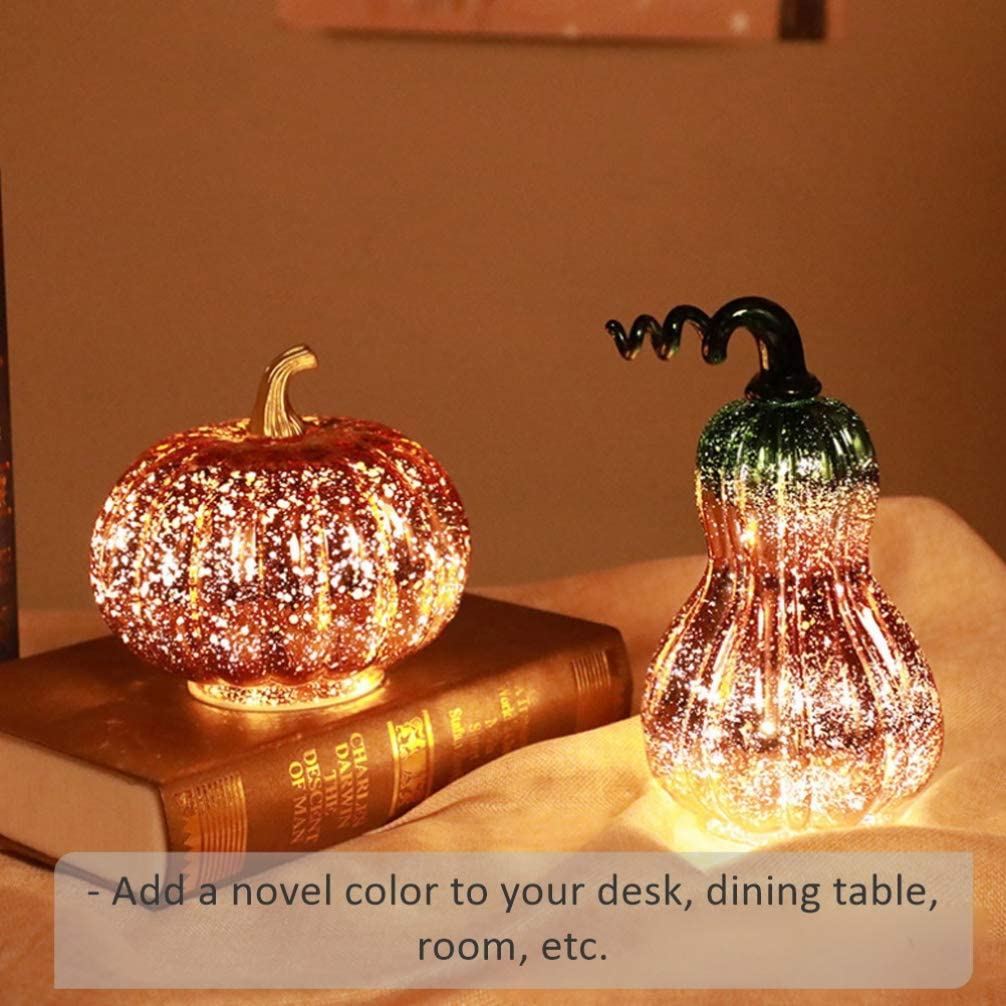 Halloween Pumpkin Lamp Glass Pumpkin Light Without Battery Light Up Party Decor for Halloween Pumpkin Decorations 1pc