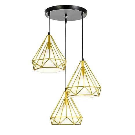 E27 3-lumière Suspension Cage Forme Diamant Contemporain 110 ...