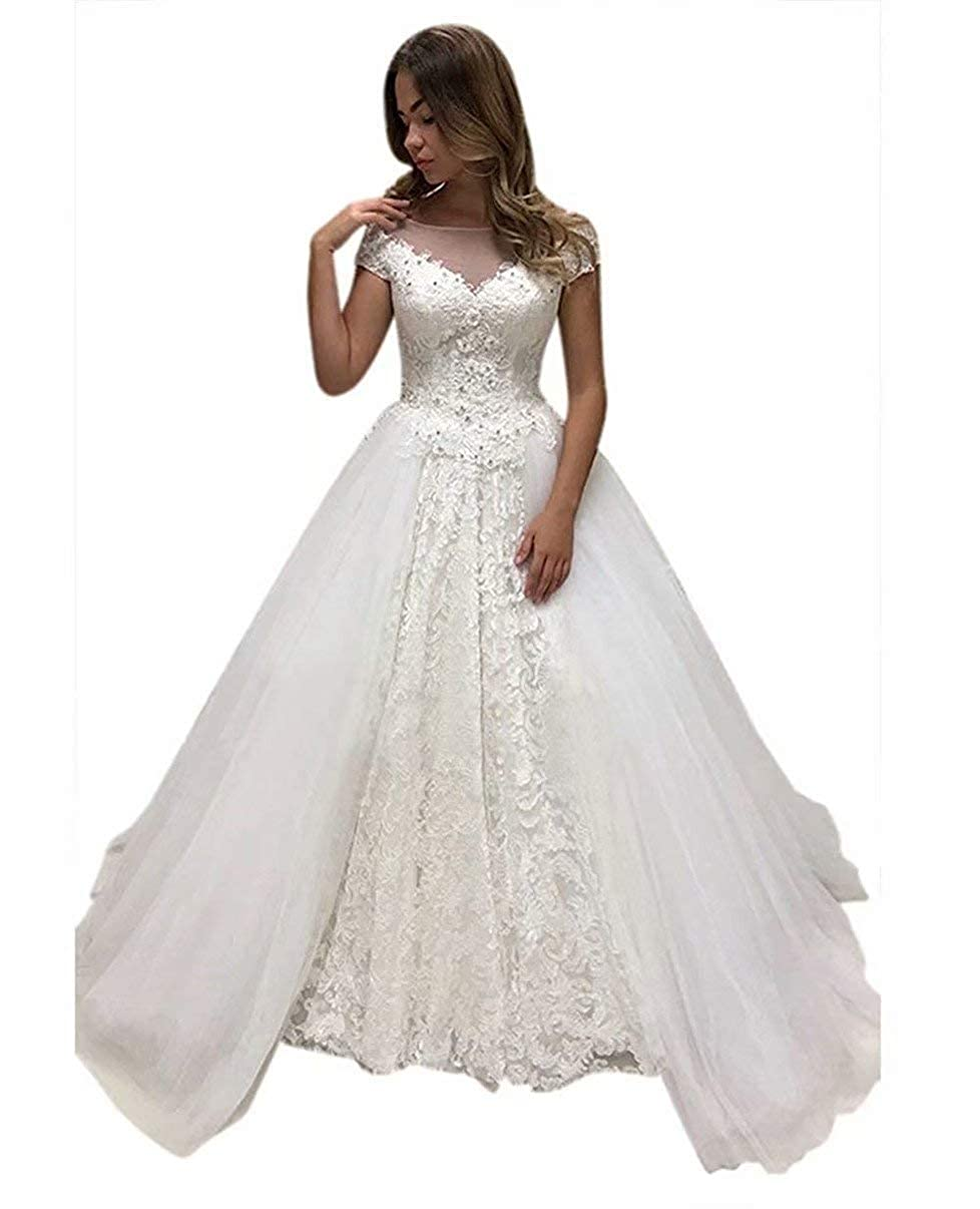 ef0dfa2142d Women s Sheer Neckline Cap Sleeve Lace Applique Wedding Dresses Tulle  Bridal Ball Gown at Amazon Women s Clothing store