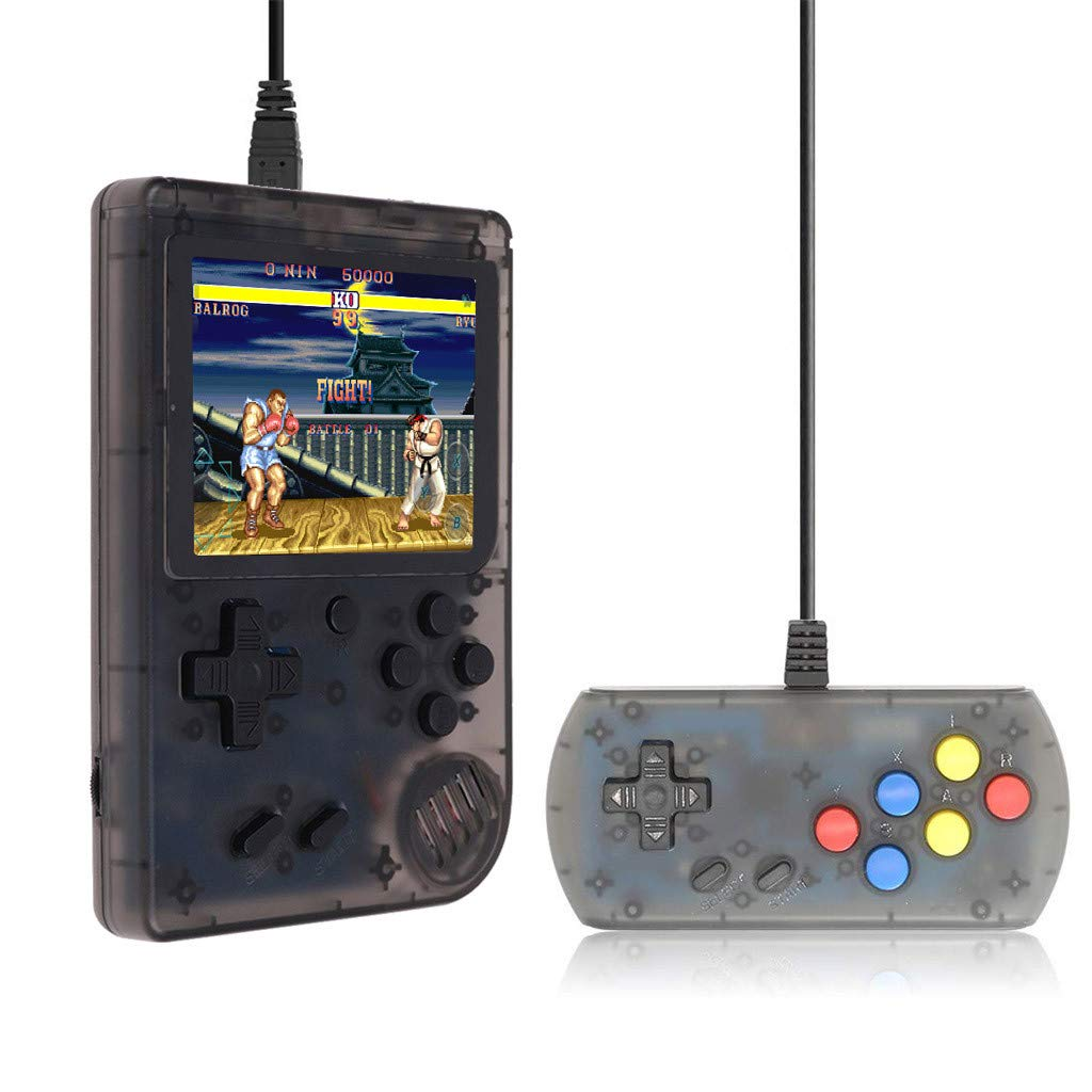 Cywulin Retro Mini Handheld Video Game Player, Built-in 168 Classic Games Gameboy with Extra Joystick Portable Controller Console 3 Inch Support TV Family 2 Player Present for Boy Kids Adult (Black)
