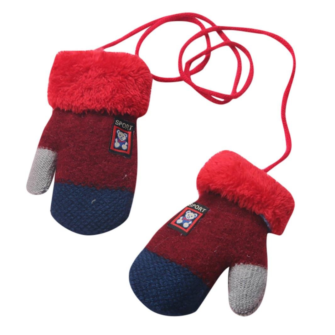 Boys Gloves, SHOBDW Kids Girls Fashion Cute Bear Thicken Wool Winter Warm Hot With Rope Gloves Infant Baby Gifts Black) SHOBDW-51
