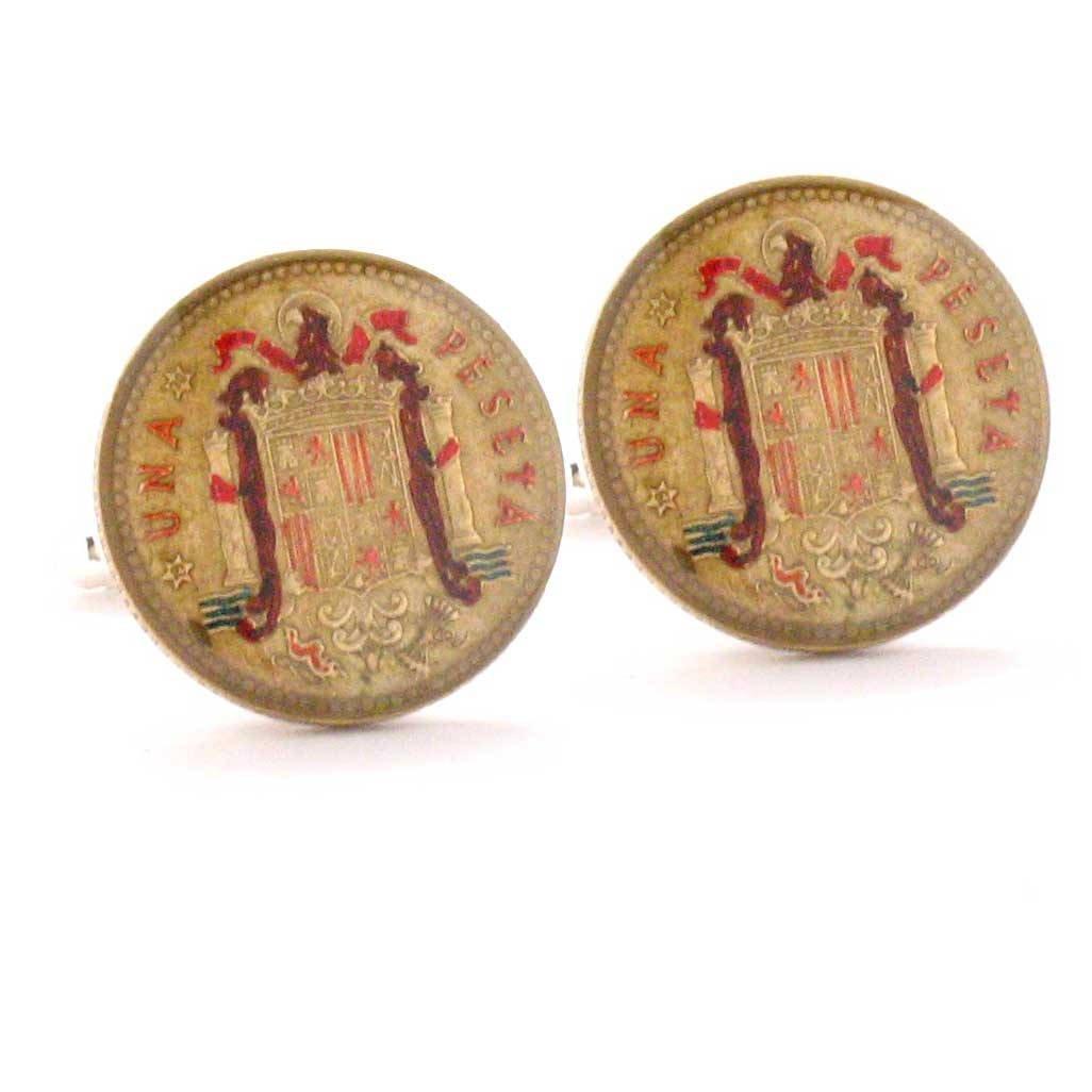 Amazon.com: Spain Coin Cufflinks Cuff Links Flag España Espanha Gemelos Mancuernas Mancuernillas Barcelona Madrid Valencia Seville Espagne Spagna: Jewelry