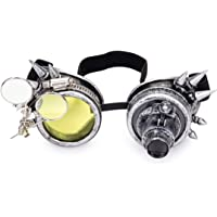 Sexy_Forever Spiked Steampunk Kaleidoscope Goggles with Double Color Lenses and Ocular Loupe Vintage Rave Rainbow…