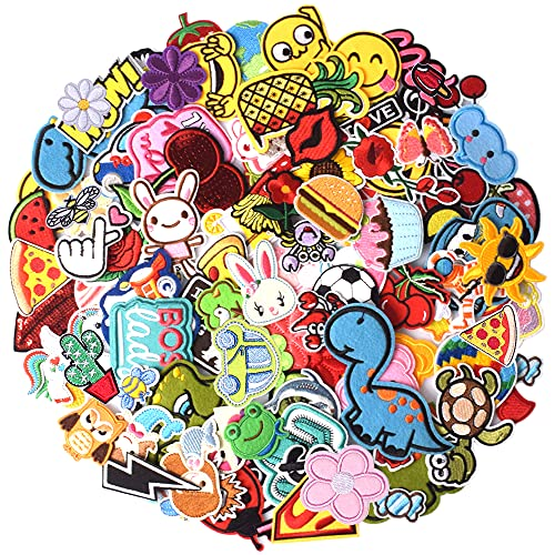 TACVEL 60PCS Random Assorted Styles Embroidered Patches, Sew on / Iron on Patches, Applique for Clothes Dress Pants Hats Jeans, Sewing Flowers Applique DIY Accessory