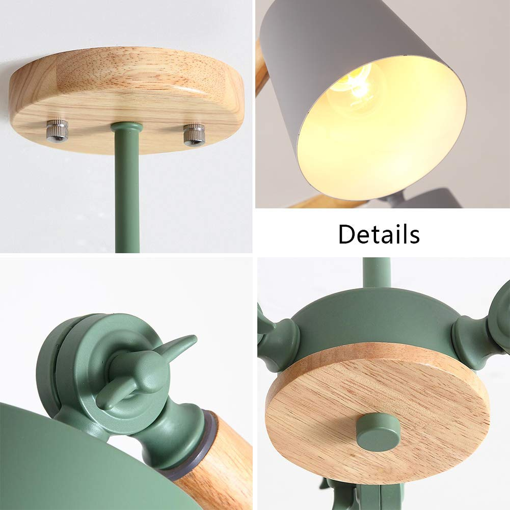SEEKSUNG Modern Verstellbarer Holzleuchter, E27 3light Farbe Deckenleuchte Deckenleuchte Deckenleuchte Macaron Metalllampenplatte Schlafzimmer-Esszimmer-Lampe 2dc542