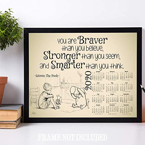 2020 Calendar You Are Braver Than You Believe Winnie The Pooh 11x14 Unframed