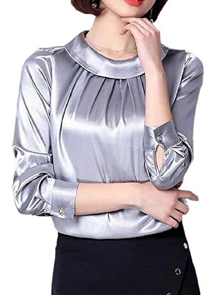 6948098663261 RRINSINS Women Satin Blouses Shirt Formal Work Long-Sleeved Silky Stain  Blouse at Amazon Women s Clothing store