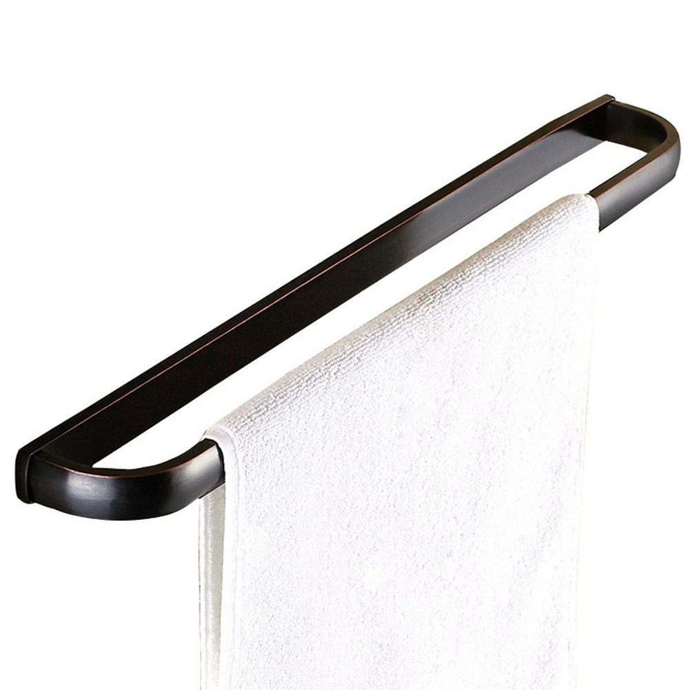 WINCASE Antique Glossy 22.6 inch Wall Mount Towel Holder Rail Finished by Oil Rubbed Bronze Full of Elegance with Concealed Screws for Bathroom, Black Towel Rack for Bathroom, Bedroom, or Toilet
