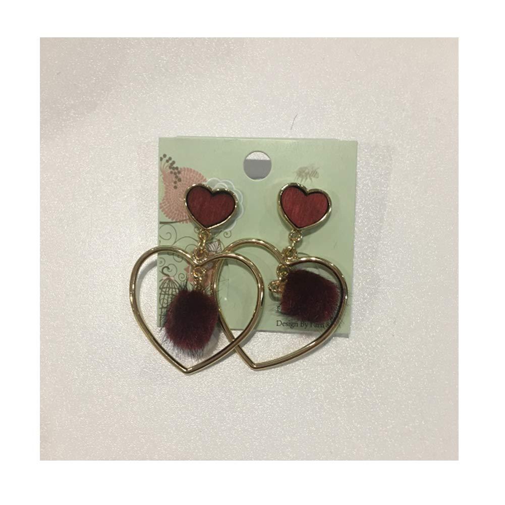 Women Teen Girls Heart Drop Earrings Bohemian Wooden Alloy Dangle Stud Earrings
