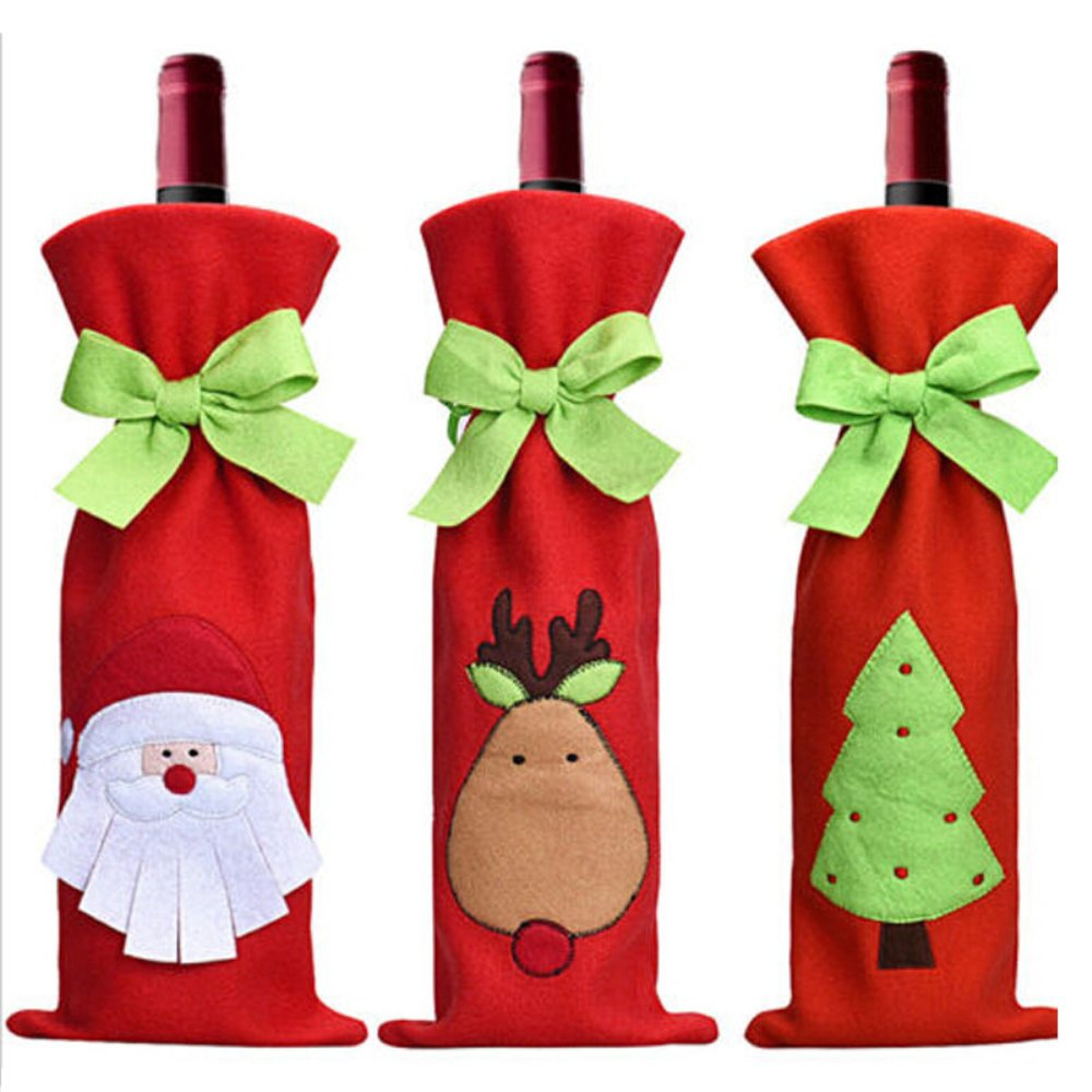 Honeystore 3pcs Santa Claus Wine Bottle Cover Party Hotel Kitchen Table Decorations