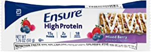 Ensure High Protein Bars, 20 Bars, On-the-Go Nutrition, 15g Protein Supports Muscles, 1-2g Sugar, B Vitamins for Protein & Energy Metabolism, Biotin for Healthy Skin & Hair, Mixed Berry