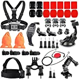 Kitway Accessories Kit for Gopro Hero 4 Session, Hero 1, 2, 3, 3+, 4, SJ4000, 5000, 6000, 7000, Xiaomi Yi (44 -in-1)
