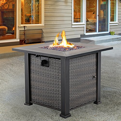 Nuu Garden Outdoor Patio LP propane 30 Inch Square Gas Fire Pit Table AF001, 50,000 BTU Square Lp Gas Fireplace