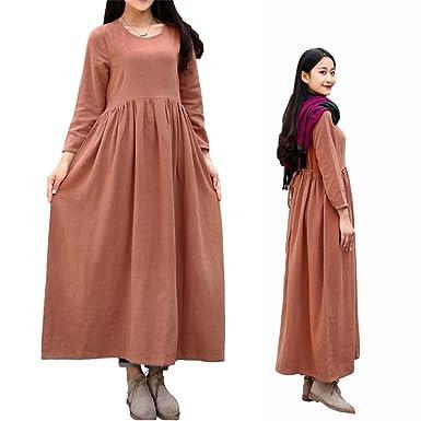 Eazon 2017 New Prom Dresses Casual Cotton Linen Plus Size Maxi Dresses For Women