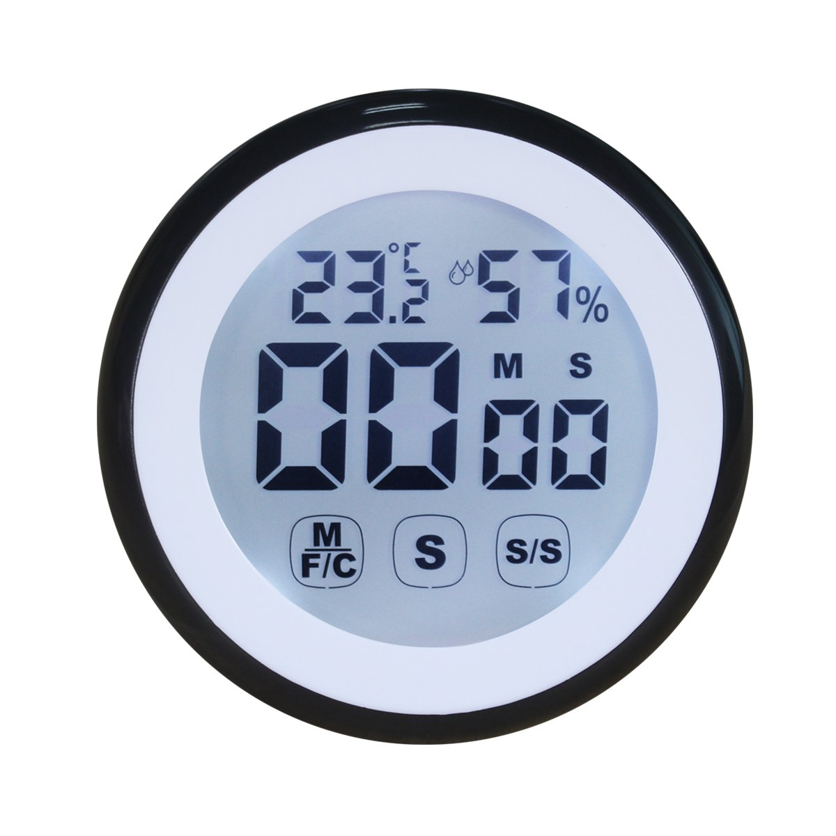Hippih Digital Countdown Kitchen Timer Big and Bold Digits Temperature and Humidity Counts, Up and Down, Touch screen Display, Magnet, Stand(Black) JSQ002