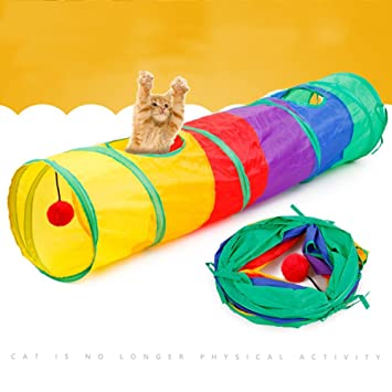 Plegable Gato Túnel Juguete Divertido Vistoso Interactivo Tubo Extensible Gato Túnel Jugar Laberinto Gato Casa con Ojeada Agujero Y Bolas para Gato Perrito ...