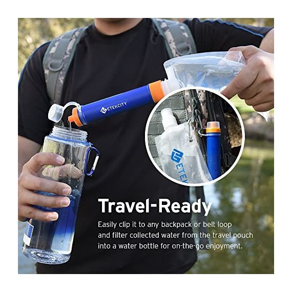 Etekcity Water Filter Straw Camping Water Purification Portable Water Filter Survival Kit for Camping, Hiking, Emergency… 5 SAFETY TESTED: Etekcity water purifier has been tested by German TüV SüD Examination Institute and meet EPA Water Quality Standards. The pouch is FDA Compliant in accordance with 21 CFR 180. 22 to ensure maximum quality and safety ADVANCED FILTRATION DESIGN: Pre-filter to defense large contaminants. Ion-exchange resin to remove chlorine, heavy metal ions, THMs. Activated carbon to eliminate odors. 0. 01Μm hollow fiber UF inline Membrane to filter 99. 9999% waterborne rubbish DEPENDABLE ACCESSORIES: Prepared with a Foldable Water Pouch(480ML, 16oz) with D type hook, an Extension Tube(70cm), a Syringe(back wash device), an Inlet Mouthpiece(pre-filtration device with 1 PP Cotton Pad), additional Four PP Cotton Pads