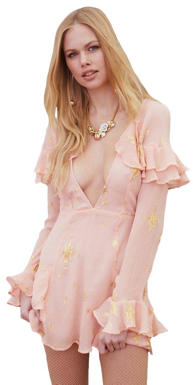 For Love & Lemons Women's Gilded Star Mini Dress In Rosegold, m