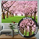 Cherry tree photo wallpaper – forest with cherry trees – spring pink wallpaper mural – trees forest wall decoration by GREAT ART