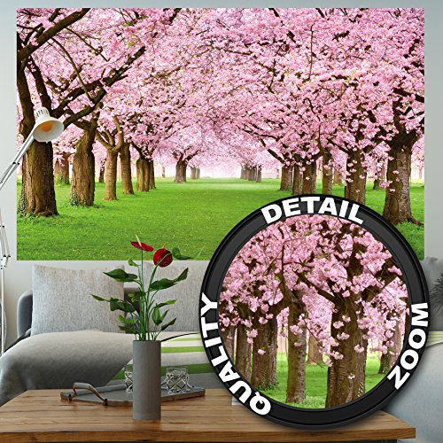 Cherry Blossom Wallpaper For Walls - Wall Mural Cherry Blossoms Mural Decoration Flowers Spring Garden Plants Forest Park Nature Cherry Tree Cherry Blossom Tree Avenue I paperhanging Wallpaper poster wall decor by GREAT ART 82.7x55 Inch