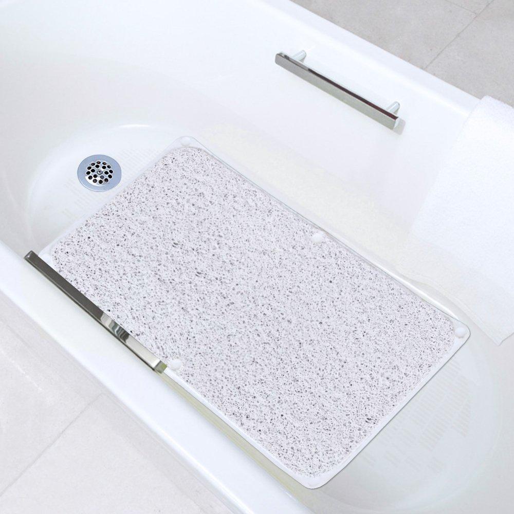 H.Versailtex Non-slip Bath Mat PVC Rectangle Shower Mat Mildew Resistant Anti-Bacterial Tub Mat with Suction Cup Machine Washable 43 X 73cm (White)