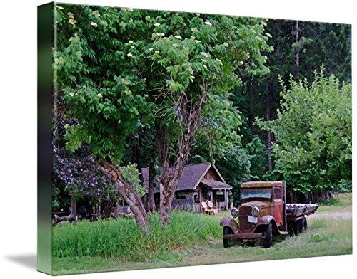 wall-art-print-entitled-buckner-farmhouse-truck-in-drybrush-by-john-chao