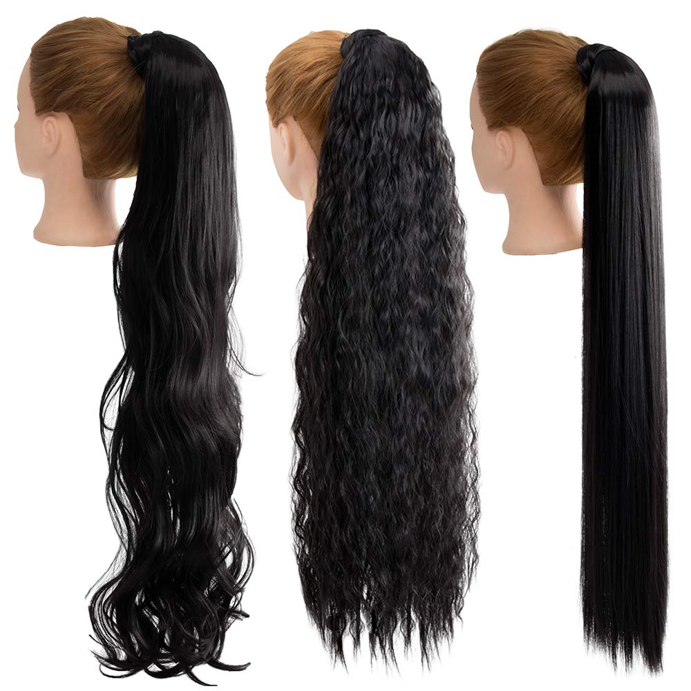 Amazon Com 3 Packs Ponytail Extension 30 Inch Long Ponytail Hair Magic Paste Wrap Around Clip In Ponytail Hair Extensions Synthetic Pony Tails Hairpieces For Women Corn Wave Wavy Straight Hairstyle Black Beauty