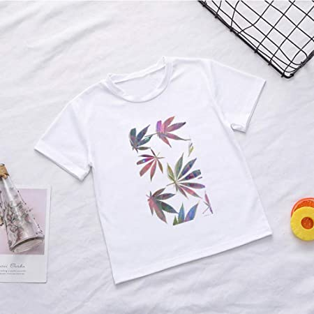 DAJUZI Camisas de niña Blanca Algodón de Verano Kawaii Cute ...